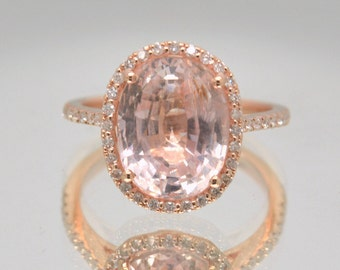 Certified untreated 7.65 carts Champagne Peach Sapphire rose rose gold engagement ring| Free shipping | SKU 2078 Catalin