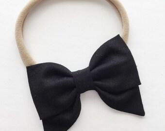 Sailor Baby Bow - Black Petite Sailor Bow Headband Clip - Black Solid Color Sailor Bows - Black Baby Bow -Black Headband -Black Bow Clip