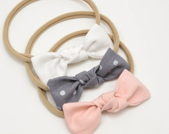 Bow Baby Headbands - Small Knot Bow Headbands or Clips - Set of Small Bow -Mini Knot Bow Set -  Newborn Bows - Tiny Baby Bows - Knot Bows