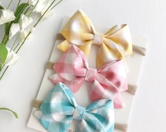 Baby Headbands - Baby Bows - Bow Headband - Easter Bows - Easter Headbands - Nylon Headbands - Gingham Bows - Sailor Bows - Fabric Bow Clip