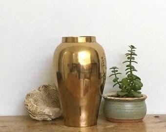 "Brass Vase Gold Modern Decor Mid Century MCM Vintage Succulent House Plant Planter 5"" Diameter 8"" Tall Height Antique Patina"