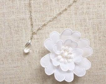 Swarovski crystal briolette drop and crystal chain wedding bridal necklace