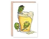 HOPS - Note Card - BLANK - Portland, Beer, Birthday Card, congratulations, IPA, brew pub, anniversary, birthday Greeting card