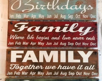 Birthday Calendar - Rustic hand painted wooden sign with 30 blank white wooden circles - Choose Saying and Colors