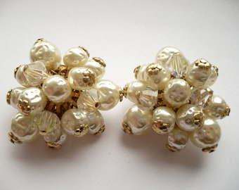 Vintage Clip On Cluster Earrings Pat Pend Crystal Beads Dimpled Faux Pearls Gold