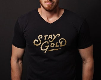 Men's T-shirt Sale - Men's black neck t-shirt for men - Men's Clothing - Men's Apparel - Stay Gold tshirt - soft tee for men - Men's t-shirt