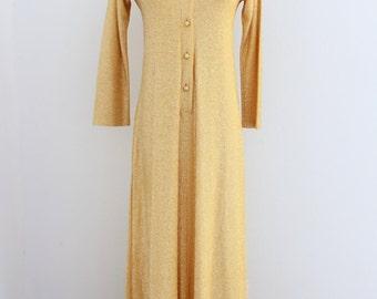 1970s Gold Metallic Hostess Dress Maxi Long Glam Loungewear Loll Ease Womens Vintage Medium