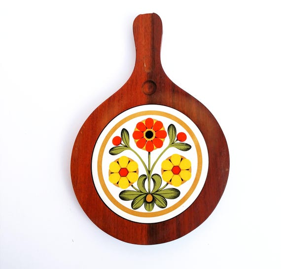 Vintage 1970's Wood and Ceramic Trivet with Floral Design