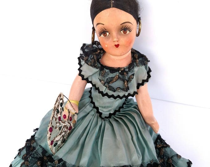 Vintage 1950's Spanish Flamenco Doll Made in Mexico