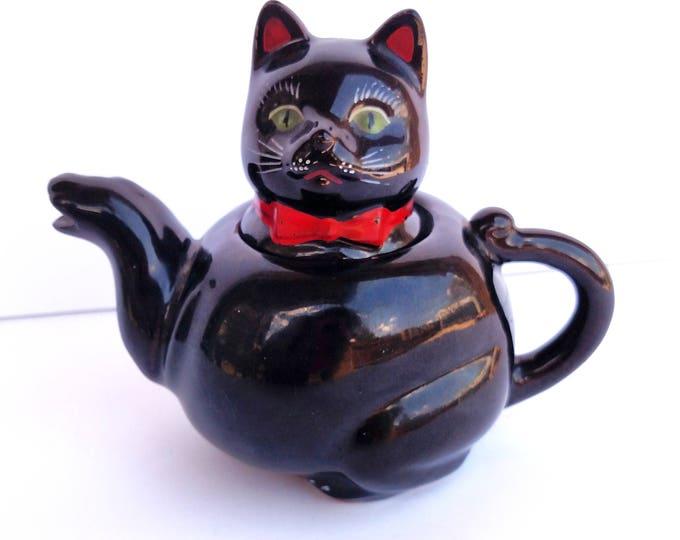 Vintage 1951 Black Cat Teapot by Shafford Pottery Japan