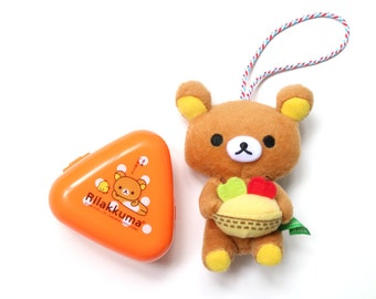 Rilakkuma accessory set of 2 (plush charm and mini orange storage)