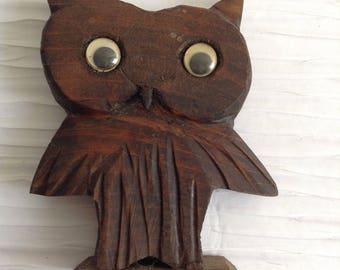 Wood Google Eye Owl. Vintage 1960, Modernist. Mod, Mid century, Danish Modern, Eames, Bojesen era.
