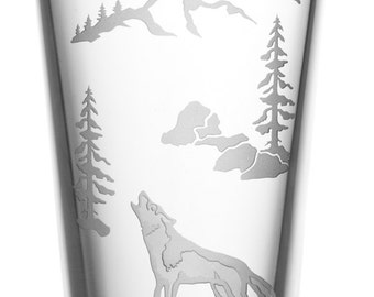 Howling Wolf, 16oz Glass, etched (Sandblasted), Original Design