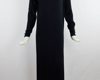 YVES SAINT LAURENT Evening Dramatic  Maxi Dress  with Cut Out Sleeves Rhinestone Embellished Detail Haute Couture Size 38
