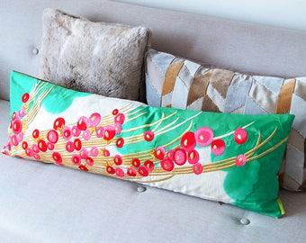 Unique Silk Kimono Pillow, Long Bolster Cushion, Pink Red Berries Gold Turquoise Upcycled Vintage Japanese Wedding Kimono, Luxury Velvet ECO