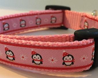 Dog Collar- Pink Penguins
