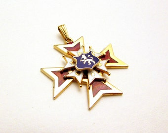 Tiered Enamel Maltese Cross Pendant - Lion Crest - Red, White, Blue - Gold Tone Heraldic Jewlery