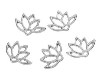 10 Small Silver LOTUS FLOWER Charm Pendants, 15x11mm, chs2669