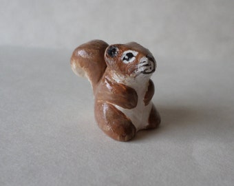 Miniature squirrel , miniature animal, squirrel figurine, animal sculpture, squirrel totem