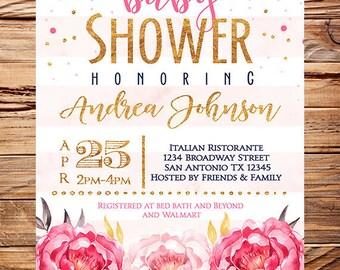 Baby shower invitation girl, Girl baby shower invite, pink peonies flowers, blush peonies, glitter, gold, navy white stripes, boy, girl,1806