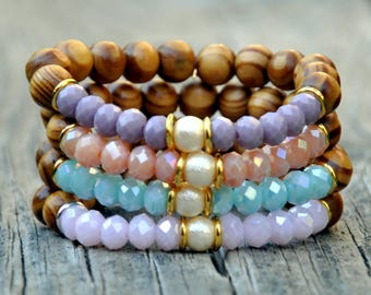 Set of 4 Pastel & Wooden Beaded Bracelets
