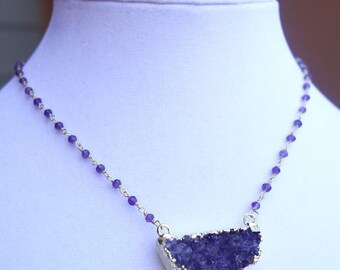 Sparkling Natural Amethyst Druzy Necklace r
