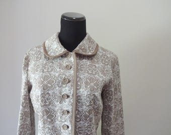 Vintage Ilgwu Union Made Floral Pattern Full Length Coat 1960s