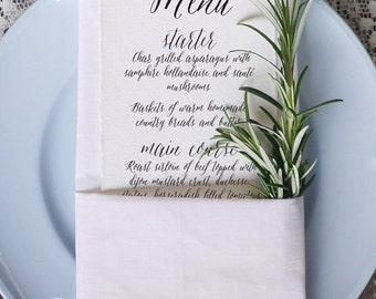 Calligraphy Script 1 Wedding Menu Printable Template