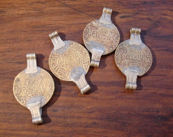 Moroccan gold colour coin coin with two  bails or loops