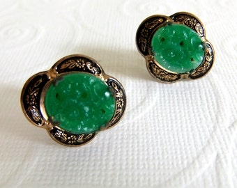 Vintage Carved Green Peking Glass and Gold Oval shaped Screw Back Earrings - Cameo Style, Faux Jade, Prong Set, Scalloped, Floral Flower