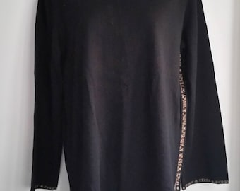 SZ M / L Vintage 100 percent wool black knitted logo sweater tunic by FENDI COUTURE  made in Italy