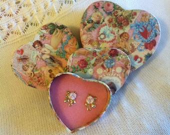 Pink Porcelain Rose Earrings In 3 Heart Shaped Pink Pastel Decoupage Nesting Boxes Avon 1996 Heartfelt Sentiments Gift Set Valentine Gift