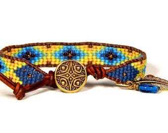 Bead Loom Bracelet Leather Wrap Bracelet Sunny Yellow Blue Seed Bead Bracelet Boho Bracelet