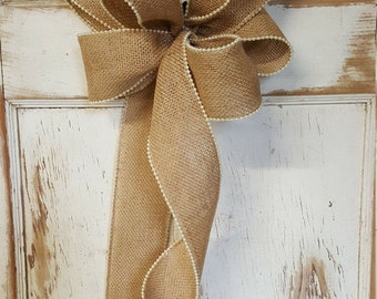 Burlap bow with white pearls, Burlap bow, Wedding burlap bow with pearls
