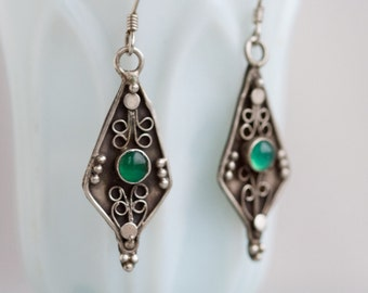 Boho Dangle Earrings - Sterling Silver Gothic Earrings with Green Glass - Oxiized Boho Jewelry