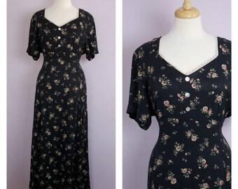 Vintage 1990's Grunge Floral Maxi Dress L/XL