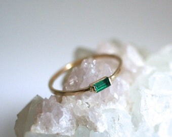 emerald baguette ring, wedding band, 14k yellow white rose gold, may birthstone, stack ring, rectangle green ring