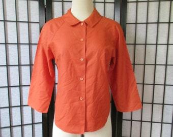 Vintage Blouse by Majestic 1960s 1970s Burnt Orange Peter Pan Style Collar Raglan 3/4 Sleeve 36 37 M L