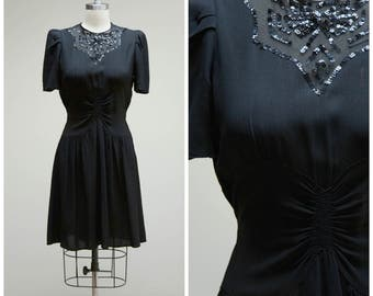 Vintage 1930s Dress • Midnight Cocktails • Black Rayon with Sequined Sheer Illusion Neckline 30s Cocktail Dress Size Medium
