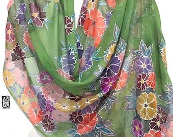 Hand Painted Silk Scarf, Green Silk Wrap, ETSY, Scarf Japanese, Green Chrysanthemum, Kimono Scarf, Large Chiffon Scarf, Takuyo, 22x90 inch