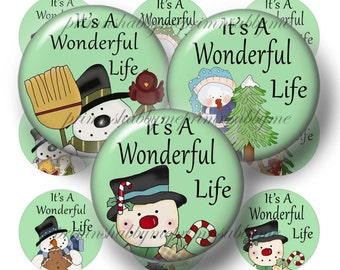 Snowman, Instant Download, Bottle Cap Images, Digital Collage Sheet, It's A Wonderful Life, No.2, Pendants, Cabochons, Cupcake Toppers, Tile