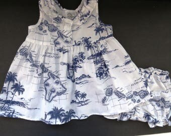 Baby Infant Girls Hawaiian Aloha Dress and Bloomers Panties - Size 18 Mos - Blue Hibiscus Flowers Hawaiian Islands - Summer Dress