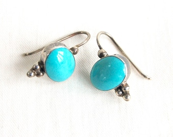 Mexican Turquoise Earrings Vintage Sterling Silver Dtops Modern Dangles Oval Colonial Style Jewelry