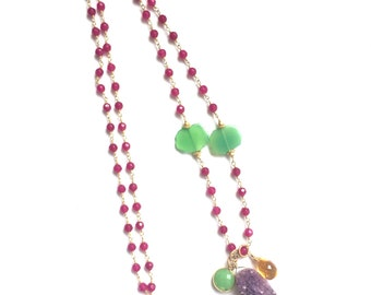 AMETHYST Druzy. Citrine, Chrysoprase and Pink Jade chain link necklace