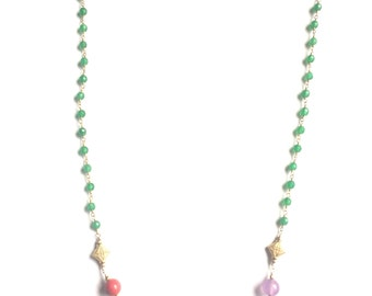 7 CHAKRA gemstone  chain-link necklace