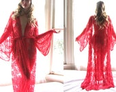 Kimono Robe - see through lingerie lace robe - long robe available in 9 colors- womens clothing bath robe- sheer lingerie- sheer dress- gown