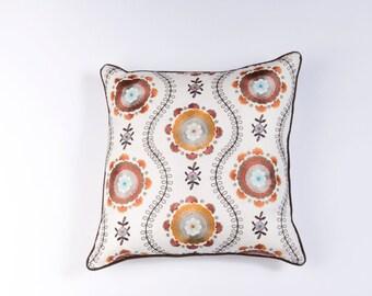 Ikat and Suzani All Klamkari Linen Pillow Cover