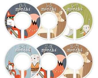 Closet Dividers, Assembled, Baby Closet Dividers, Closet Organizer, Nursery Decor, Boy, Fox, Deer, Bear, Bunny, Aztec, Tribal, Woodland