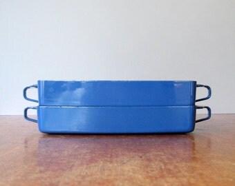 Mid Century Danish Modern Dansk Kobenstyle Blue Enamel Baking Pan / Dish