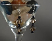 Smoky Quartz and Blue Goldstone Earrings